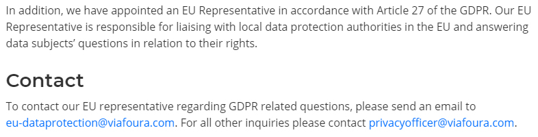 Viafoura GDPR Compliance Statement: EU Representative contact section