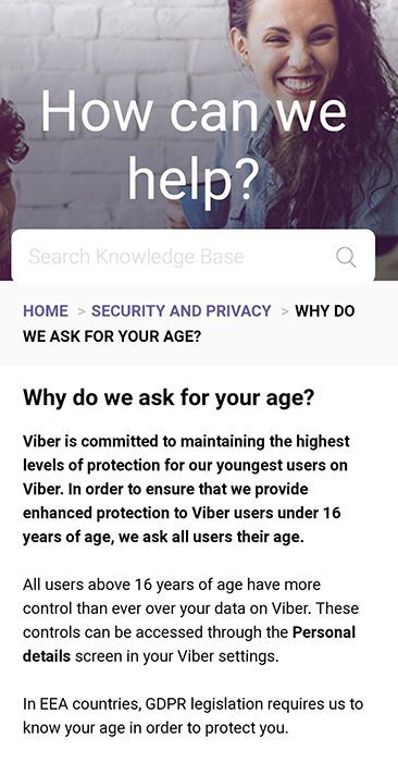 Viber app Privacy and Security: Why do we ask for your age section