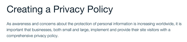 Wix Support: Intro section of Creating a Privacy Policy article