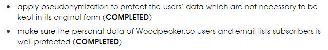 Woodpecker GDPR Compliance Statement: What is Woodpecker doing to comply - Pseudonymization and protecting personal data sections