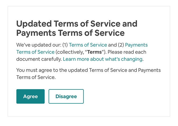 Airbnb notification about updated Terms of Service and Payments Terms with Agree and Disagree buttons