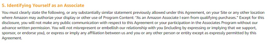 Amazon Associates Operating Agreement: Identifying Yourself as an Associate - disclaimers clause