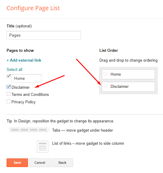 Blogger Configure Pages list with Disclaimer page highlighted