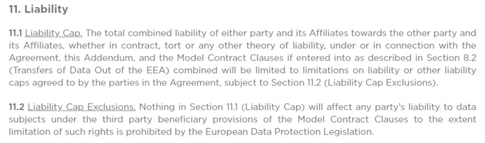 ClickUp Data Processing Agreement: Liability Cap clause