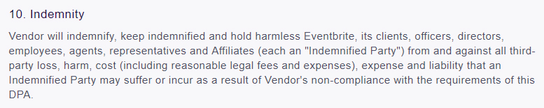EventBrite Data Processing Agreement: Indemnity clause