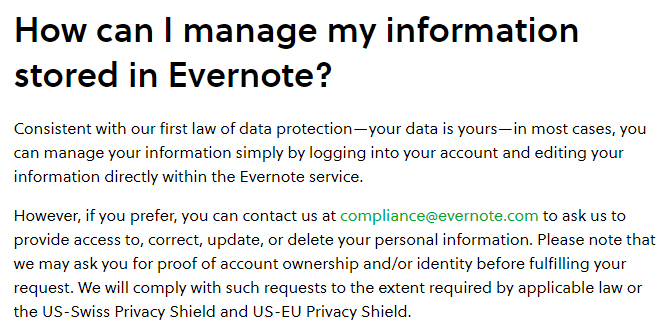 Evernote Privacy Policy: How can I manage my information stored in Evernote clause