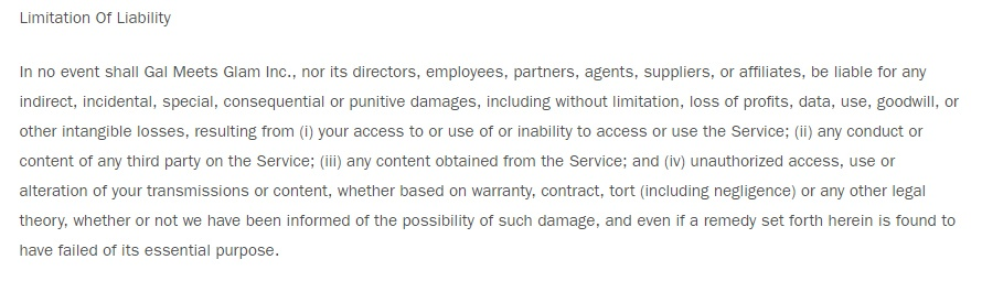 Gal Meets Glam Terms and Conditions: Limitation of Liability clause