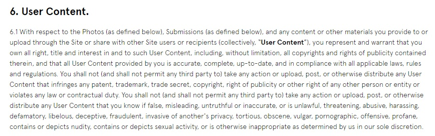 Glossier Terms of Use: User Content clause excerpt