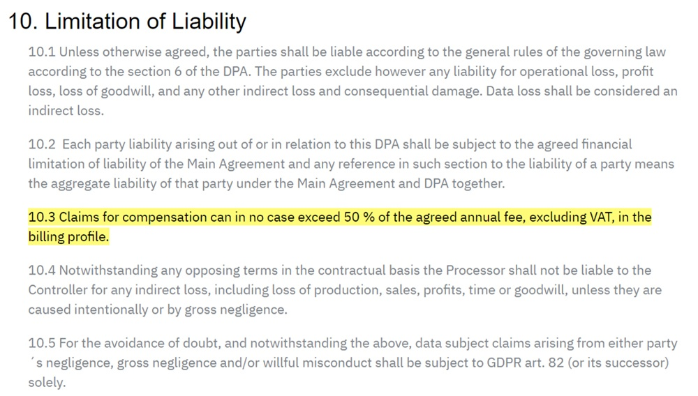 Go Ask Cody Data Processing Agreement: Limitation of Liability clause highlighted