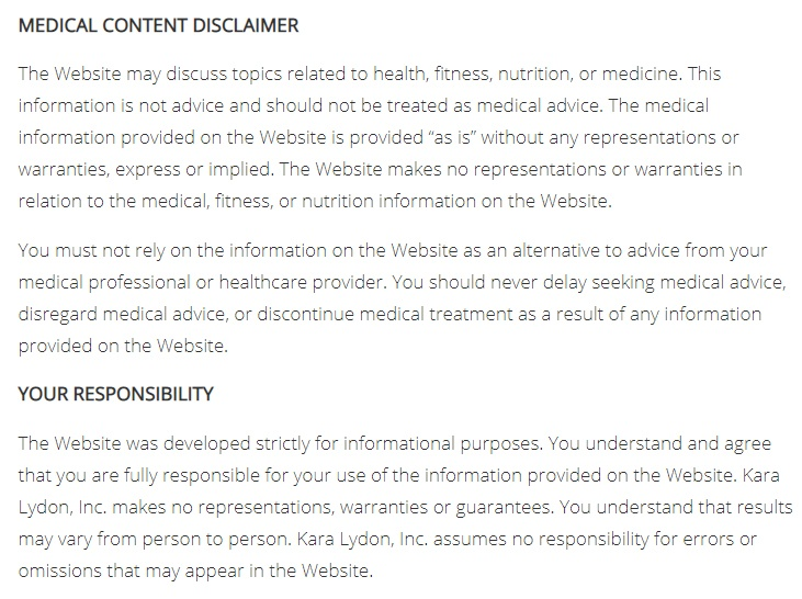 Kara Lyndon Medical Content disclaimer