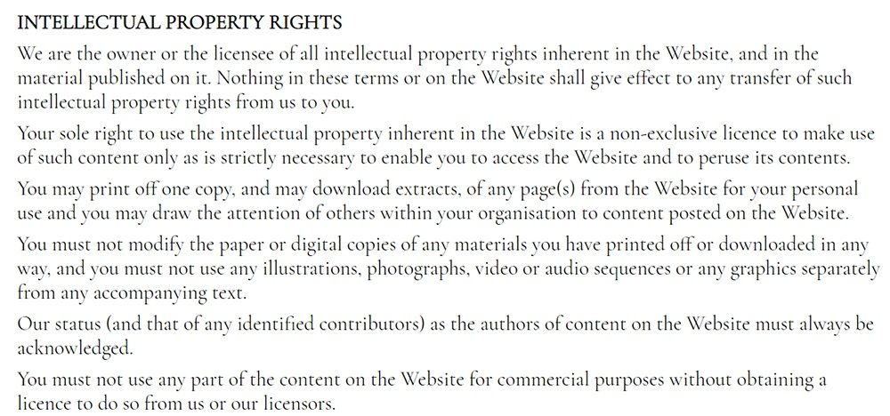 Lisa Eldridge Make Up Terms and Conditions: Intellectual Property Rights clause excerpt