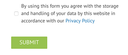 Living Clean submit information form with clickwrap checkbox for consent to Privacy Policy