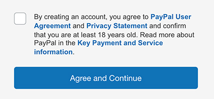 Paypal's create account form with a clickwrap checkbox and Agree and Continue button