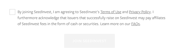 SeedInvest Join form with mandatory checkbox to agree to Terms of Use and Privacy Policy - clickwrap