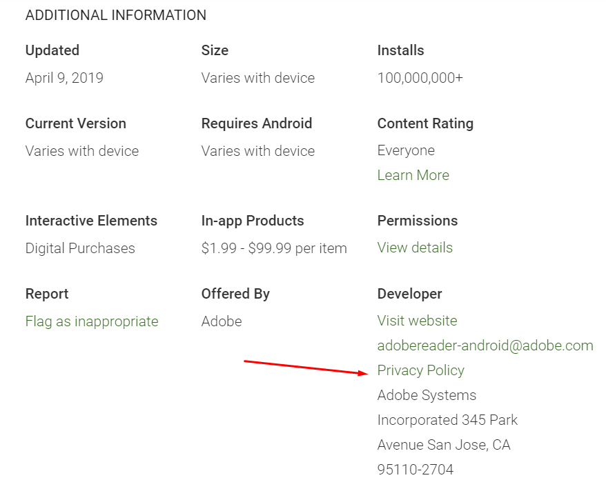 Adobe Acrobat Google Play Store app listing with Privacy Policy highlighted