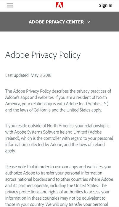 Adobe Privacy Policy intro: Mobile browser version