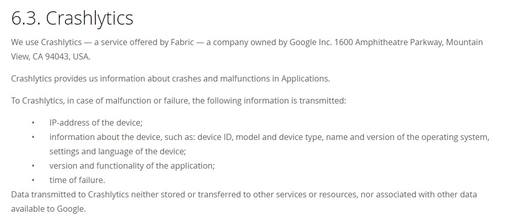 allabio Privacy Policy: Crashlytics clause excerpt