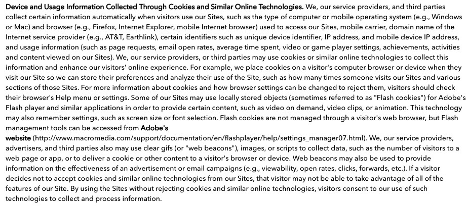 Cartoon Network Privacy Policy: Device and Usage Information Collected Through Cookies clause