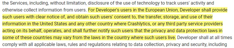 Crashlytics Terms of Service: Clause excerpt that requires consent to transfer data of EU users