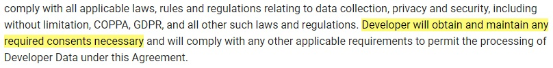 Crashlytics Terms of Service: Clause excerpt that requires consent to be obtained