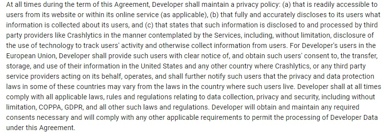Crashlytics Terms of Service: Clause excerpt that requires a Privacy Policy