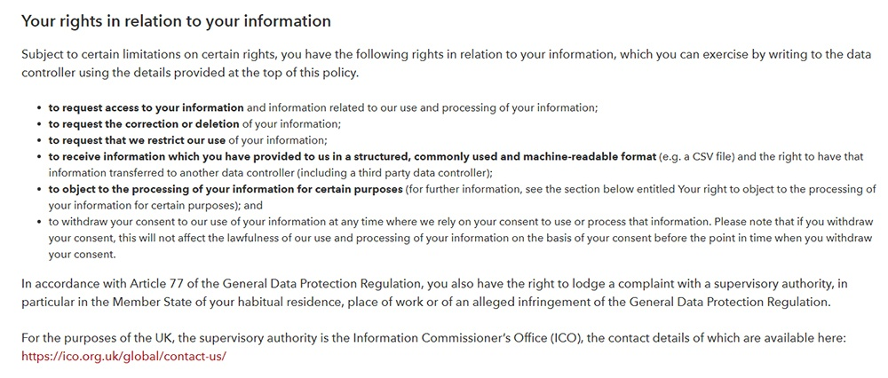 The Drum Privacy Policy: Excerpt of clause about GDPR user rights