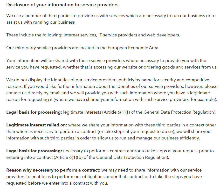 The Drum Privacy Policy: Third party disclosure clause excerpt