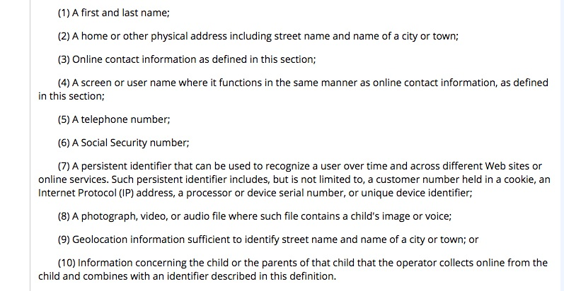 e-CFR: Screenshot of definition of personal information section of COPPA