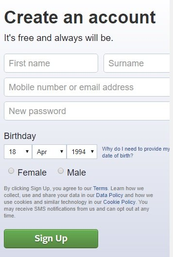 Facebook sign-up and create an account form page