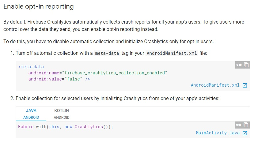 Firebase: Customize Crashlytics Reports - Enable opt-in reporting section
