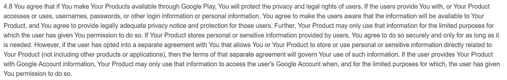 Google Developer Distribution Agreement: Clause addressing privacy protection