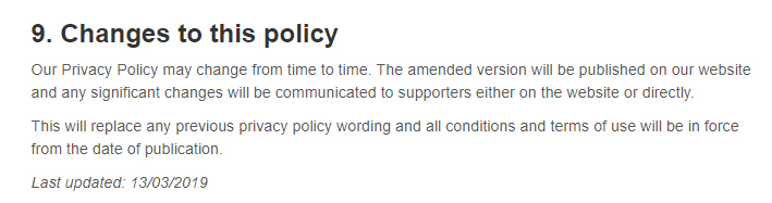 Greenpeace Privacy Policy: Changes to this policy clause with update date