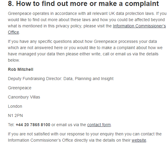 Greenpeace Privacy Policy: Contact and complaint clause