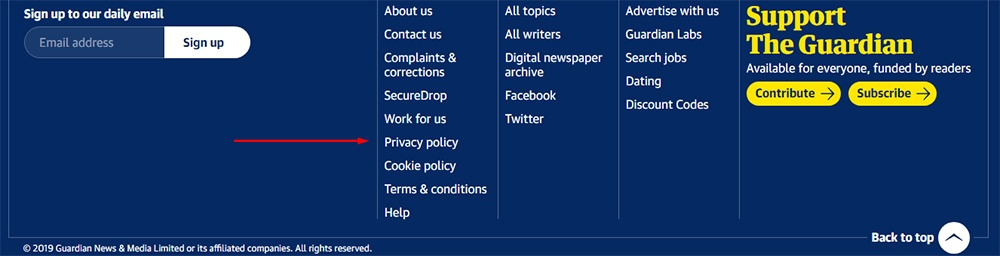 The Guardian website footer with Privacy Policy highlighted