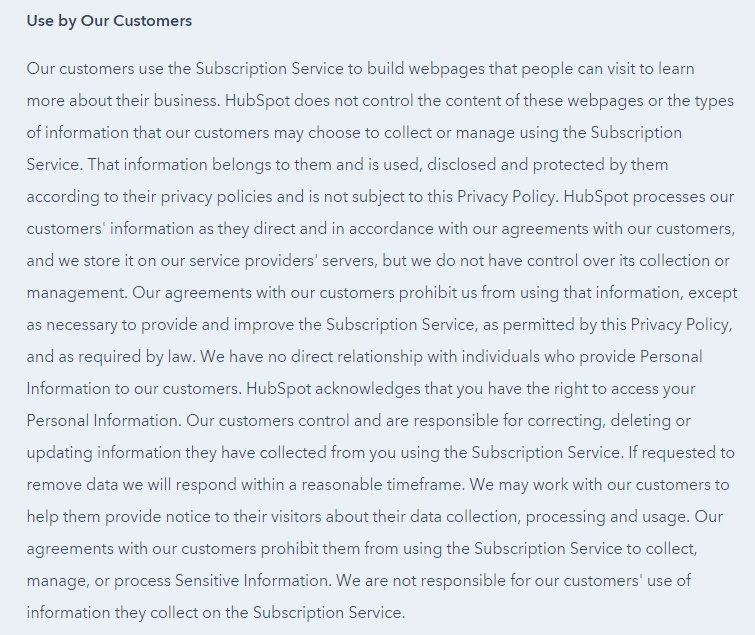 HubSpot Privacy Policy: Use by our customers clause excerpt