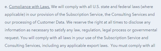 HubSpot Terms of Service: Compliance with Laws clause