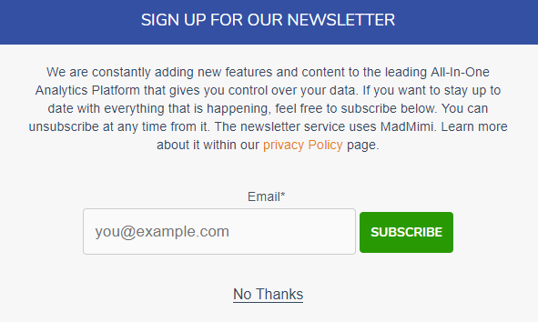 Screenshot of Matomo email newsletter sign-up form