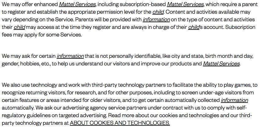 Mattel Children's Privacy Statement: Enhanced services and third-party partners clause