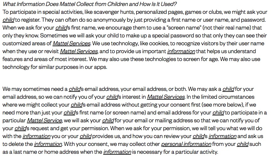 Mattel Children's Privacy Statement: What information does Mattel collect from children and how is it used clause