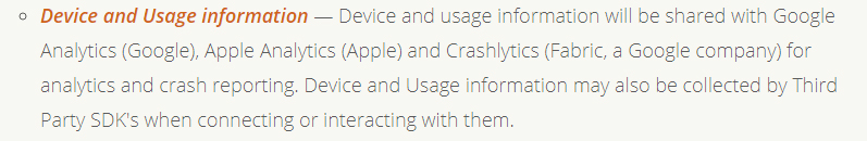 Momento App Privacy Policy: Device and Usage Information clause