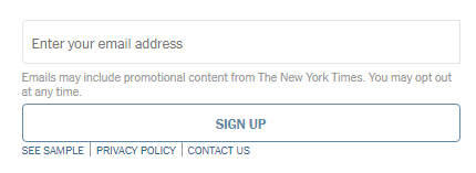 New York Times: Daily newsletter sign-up form