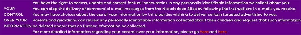 Nickelodeon Privacy Policy: Your control over your information clause