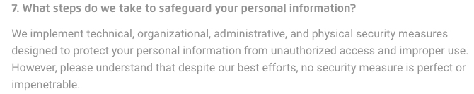 Pokemon Privacy Notice: Safeguarding personal information clause