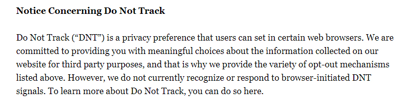 Politico Privacy Policy: DNT clause