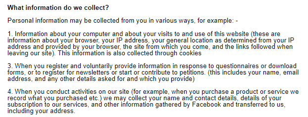 Powster Privacy Policy: What information do we collect clause