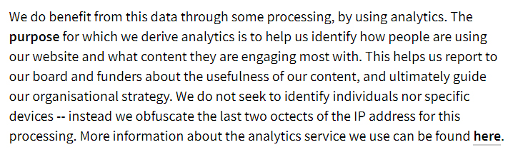 Privacy International: What we collect and why - Analytics clause