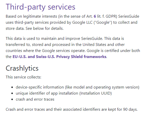 SeriesGuide Privacy Policy: Third-party services clause - Crashlytics section