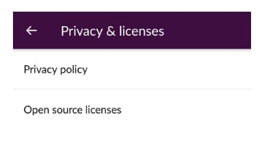 Slack app Privacy and Licenses menu screen