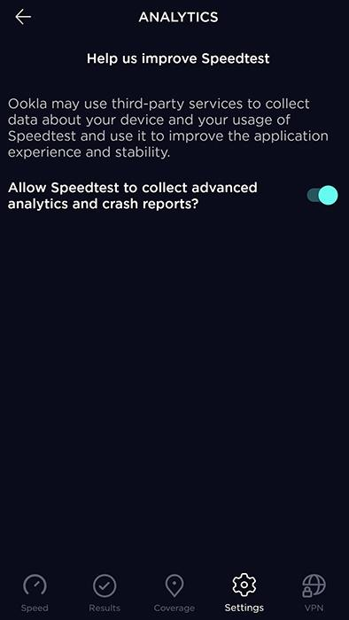 Speedtest App's settings adjustment screen for permissions screen to collect advanced analytics and crash reports