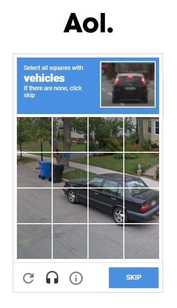 Screenshot of AOL CAPTCHA verification